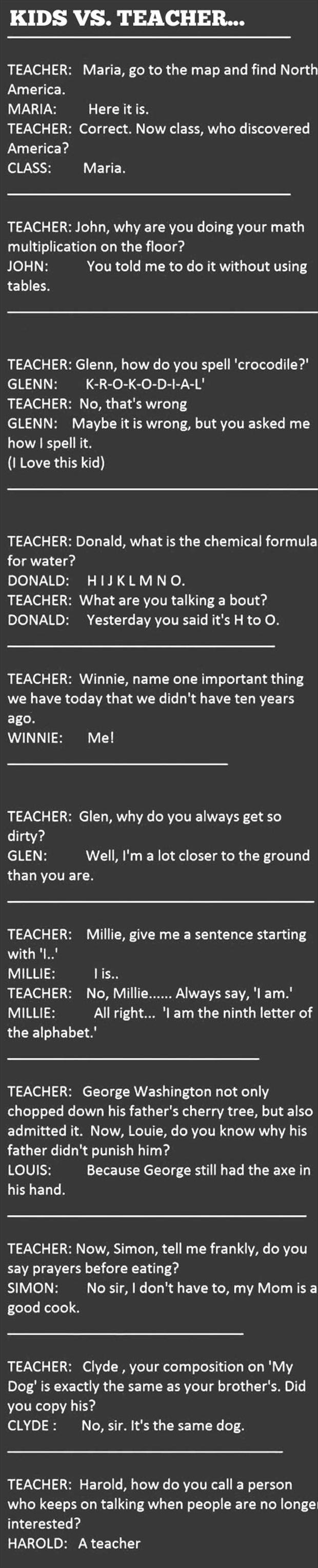 Kids Vs Teachers Funny Quotes Dump A Day