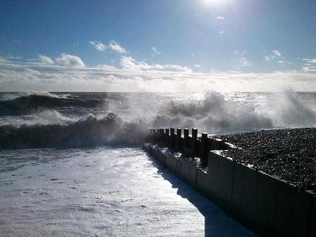 Rough seas off Hastings sea front.