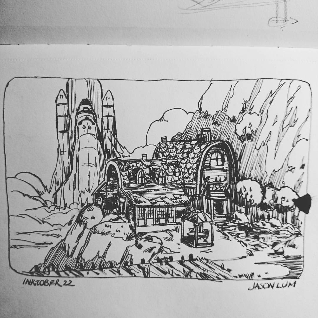 #inktober 22 I spilled ink on this :/   #environment #space #shuttle #clouds #house #artistsoninstagram #art #ink #sketch #sketchbook #mountain