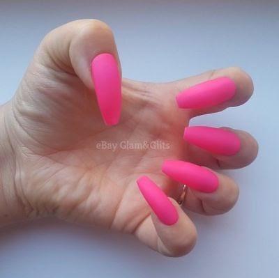 neon pink matte nails  instagram baddie nails