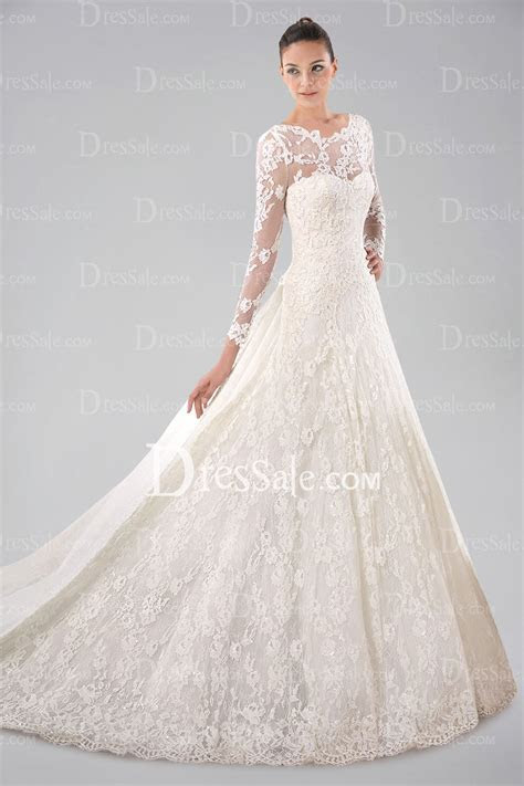 pretty long sleeve wedding gown with lace overlay and