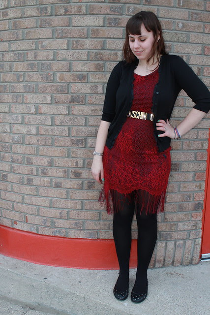 Anniversary outfit: vintage fringe dress, vintage Moschino belt, vintage beaded scarf, leopard brocade coat