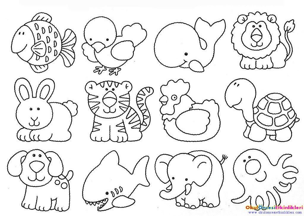 şirin Hayvanlar Boyama Sayfası Okul öncesi Etkinlikleri