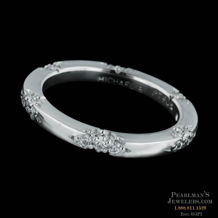 Michael B Petite Lace platinum diamond wedding band. This ..