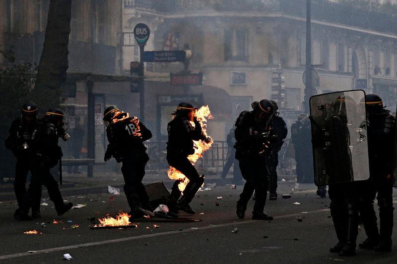 Χάος στις διαδηλώσεις για την εργατική Πρωτομαγιά στην Γαλλία