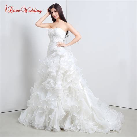 In Stocks Fashion Organza Ruffle Wedding Dress Vestido De