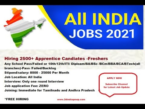 Job: Bumper Job for Freshers in Feb 2021. Hiring 2500 Apprenticeship Employees.  3D India Group Bangalore