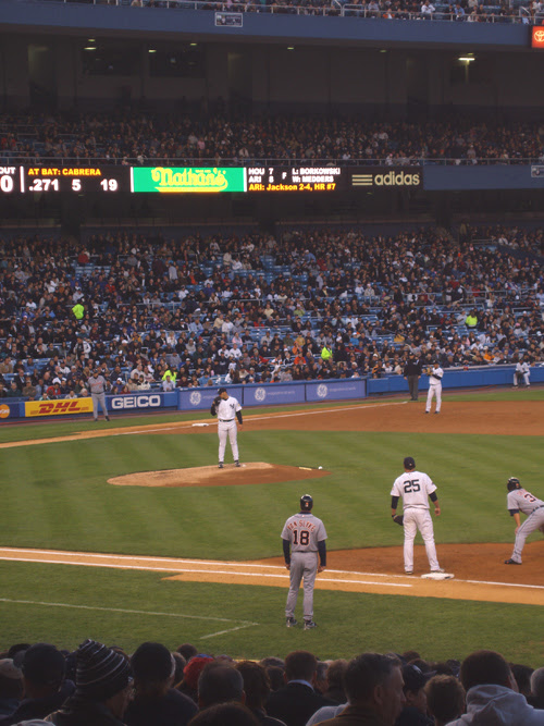 Andy Pettitte on the mound for the Yankees in early game action at Yankee Stadium