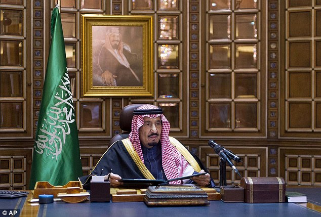 Ruler: Salman bin Abdulaziz Al Saud is pictured here making his first speech as King of Saudi Arabia after taking the throne last month