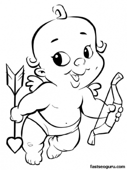 printable smiling cupid with heart valentines day coloring page  printable coloring pages for kids