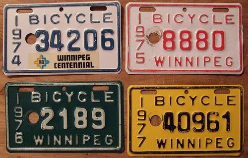WINNIPEG, MANITOBA 1974-75-76-77 BICYCLE plates