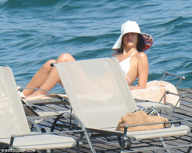 Picture perfect: The striking model looked relaxed and content during her downtime