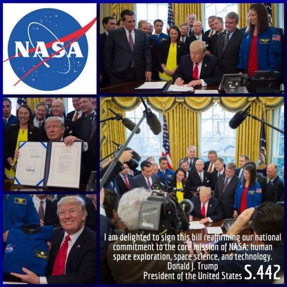 Donald Trump firmando el acta S442 con los presupuestos para NASA en 2017 | imagen NASA