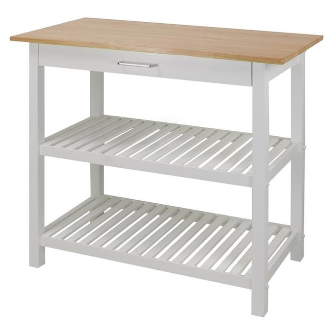 Casual Home White Wood Base With Wood Top Kitchen Island 20 In X 40 In X 36 5 In In The Kitchen Islands Carts Department At Lowes Com