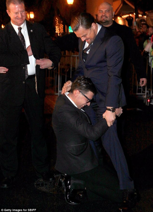 Seeing the funny side: In February, Leonardo DiCaprio became the latest A-lister to fall victim to red carpet prankster, Sediuk, but he laughed it off