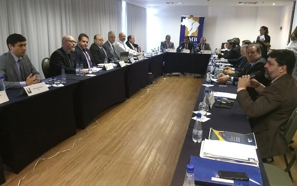 Juízes de todos os estados e do Distrito Federal em lançamento de cartilha de segurança para magistrados (Foto: Marília Marques/G1 DF )