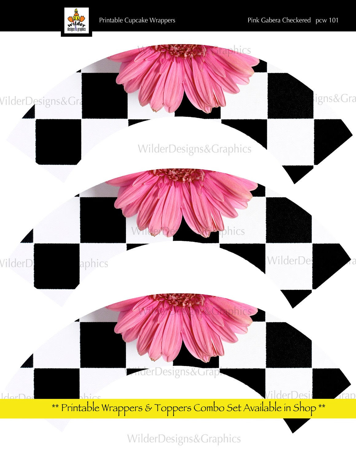 Printable Cupcake Wrappers - Checkered Pink Gabera (pcw101)