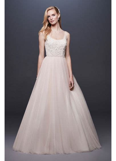 Lace and Tulle Ball Gown Wedding Dress with Ribbon   David