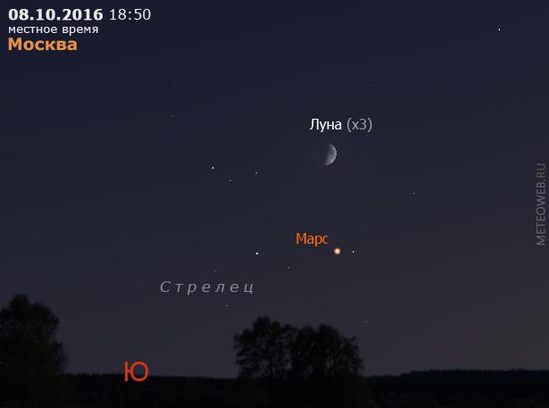 Растущая Луна и Марс на вечернем небе Москвы 8 октября 2016 г.