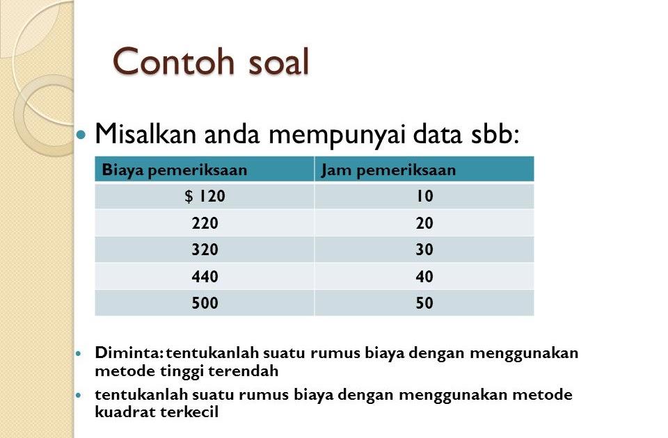 Contoh Soal Metode Scattergraph Akuntansi Biaya