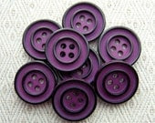 "Mod Vintage Sewing Buttons - Autumn Purple with Black Rings - Two Tone Plastic Sew Through 5/8"" 3/4"" x8"