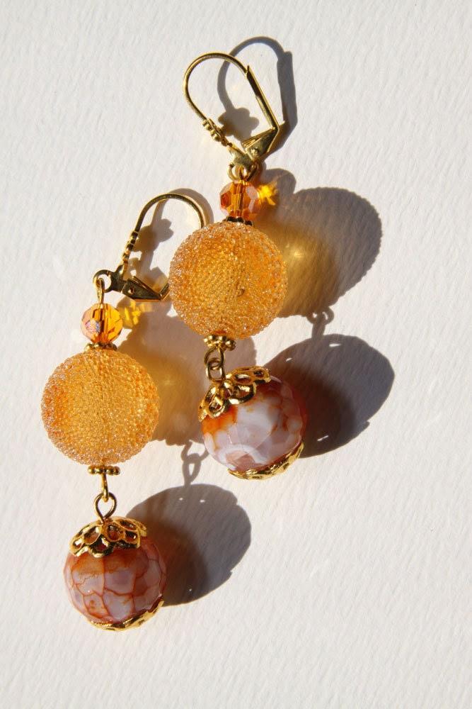 "2"" 1/2 L Orange Fire dragon stone, Orange, sugar resin, dangle drop earrings   Orange Candy"