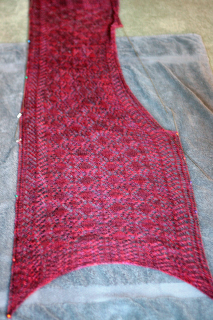 Blocking Fairview Scarf - stretch it out!