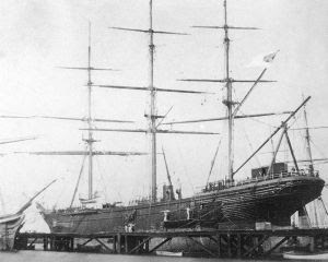 The CSS Shenandoah hauled out for repairs at the Williamstown Dockyard, Melbourne in February 1865.  Note the Confederate flag [possibly retouched] flying from her mizzen gaff, and fresh caulking between her planks.