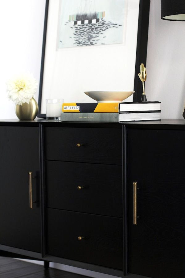 Le Fashion Blog Chic Stylish Entryway Crate Barrel Abstract Framed Print Alex Katz Book Brass Vase West Elm Mid Century Black Console Jenn Camp For Simon Said