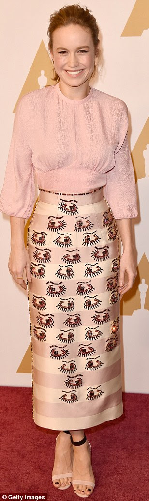 Pretty in pink:Also present was Best Actress nominee Brie Larson, who got a nod for her work in the drama Room