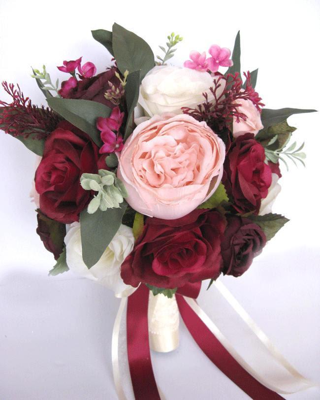Wedding Bouquet 17 Piece Package Bridal Bouquets Silk Flower Bouquet Burgundy Pink Blush Eggplant Plum Wine Artificial Set Rosesanddreams 2909801 Weddbook