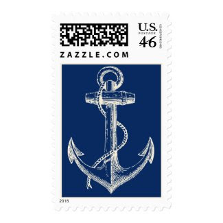 Anchor Nautical USA Postage Gift Navy Blue White