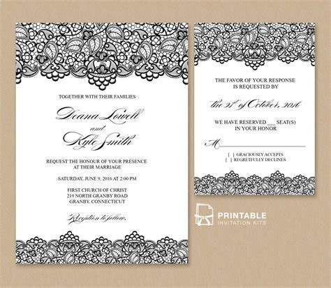 Free PDF Wedding Invitation Template   Black Lace Vintage