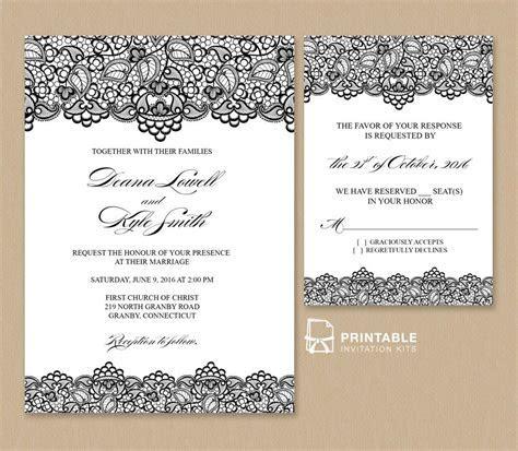 Free PDF Wedding Invitation Template   Black Lace Vintage