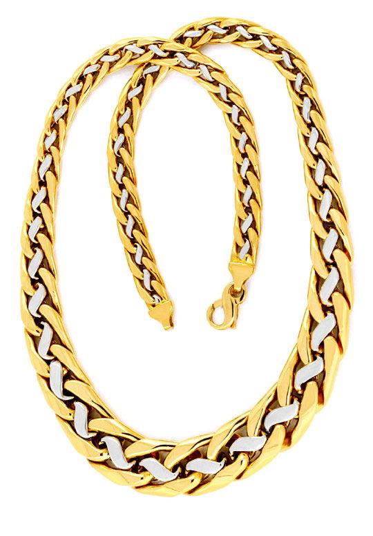 Foto 3, Goldkollier, im Verlauf, Gelbgold Weissgold 18K, Luxus!, K2993