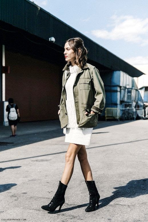 Le Fashion Blog Alexa Chung Street Style Fall Phillip Lim Fringed Sweater Dress Military Utility Jacket Lace Up Pointed Toe Boots Via Collage Vintage