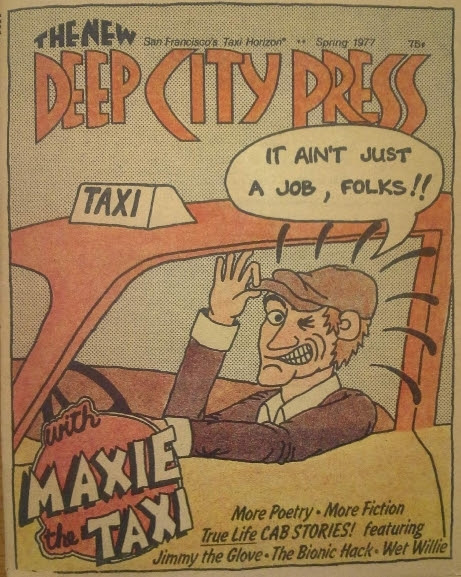 Cartoon cover shows Maxie the Taxi tipping his cap