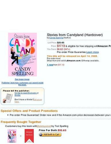 Candy Spelling/Tori Spelling memoirs on Amazon