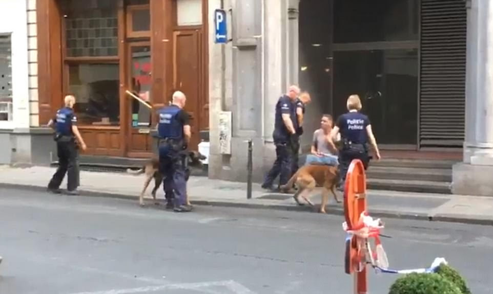 Police ran into the scene accompanied by sniffer dogs after reports of the blast at 8.30pm tonight