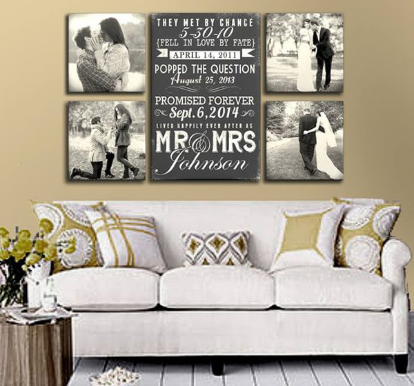 wedding photo display in wall decor