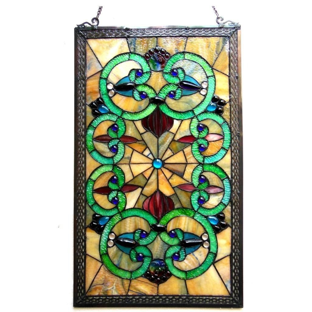 Tiffany Style Art Glass Victorian Hanging Window Panel