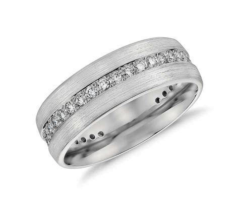 Brushed Diamond Eternity Men's Wedding Ring in Platinum (1