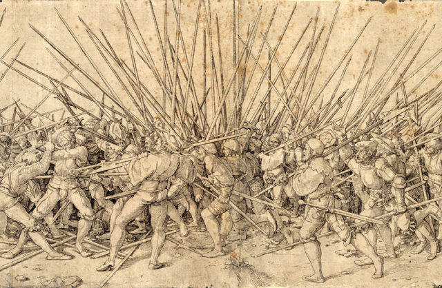 The Swiss were amazing infantry troops, mostly fighting with pikes, but able to switch to other weapons when things got too close. they are depicted here in a fierce struggle with some landsknecht. Wikipedia/Public Domain