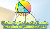 Problema de Geometría 942 (English ESL): Triangulo, Circunferencia Circunscrita, Flecha o Sagita, Inradio, Exradio