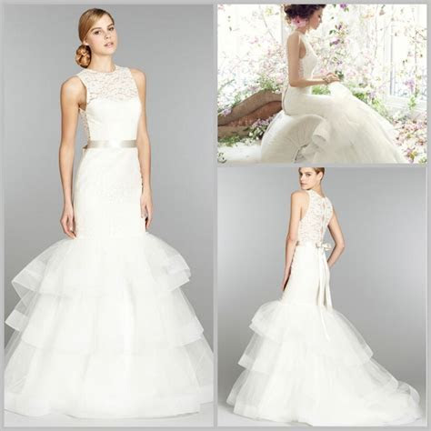 Simple Lace Frill Wedding Dress With Belt Decoration Of