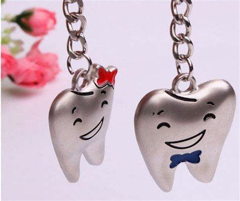 Cute Smile Tooth Lover Lovers Couple Keychain Keychains