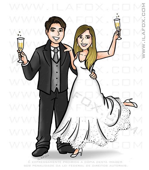caricatura desenho, caricatura divertida, caricatura casal, caricatura champagne, caricatura bonita, caricatura para casamento, caricatura noivos, by ila fox