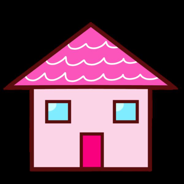 ピンク屋根の家のイラスト かわいいフリー素材が無料のイラストレイン