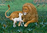 Cute lion and lamb clipart picture of lamb giving the lion a kiss.