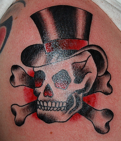Skull In Hat Tattoo Picture